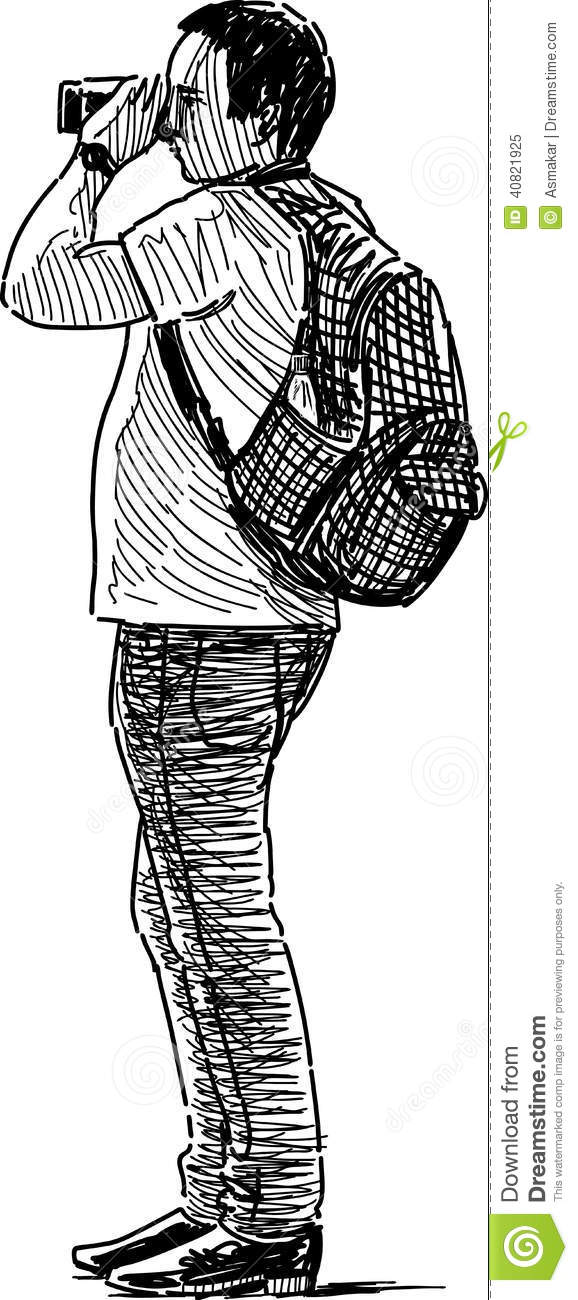 Sketch Of A Photographer Stock Photo - Image: 40821925  Sketch Of A Pho...