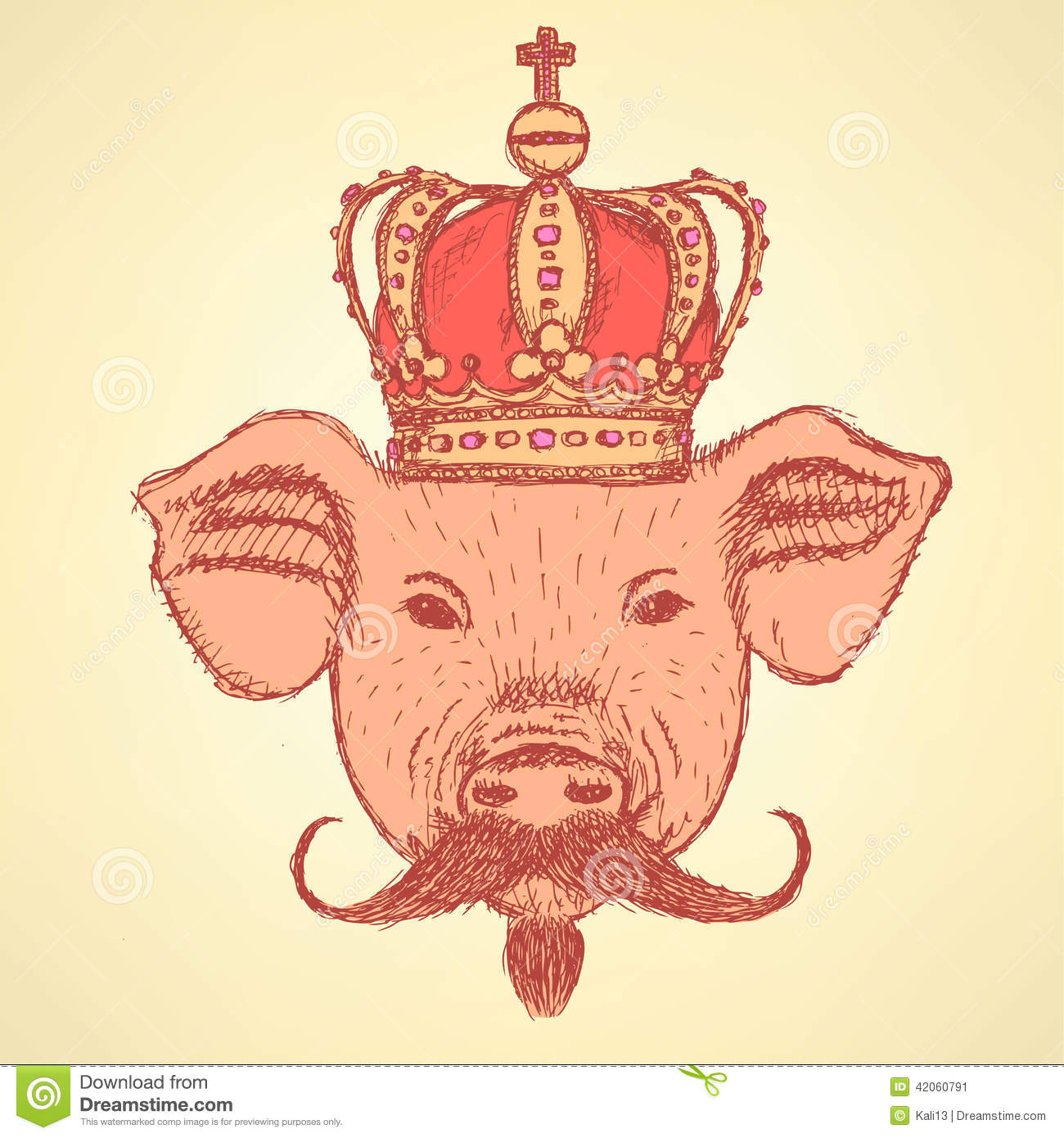 Sketch Pig In Crown With Mustache, Vector Background Stock ...
