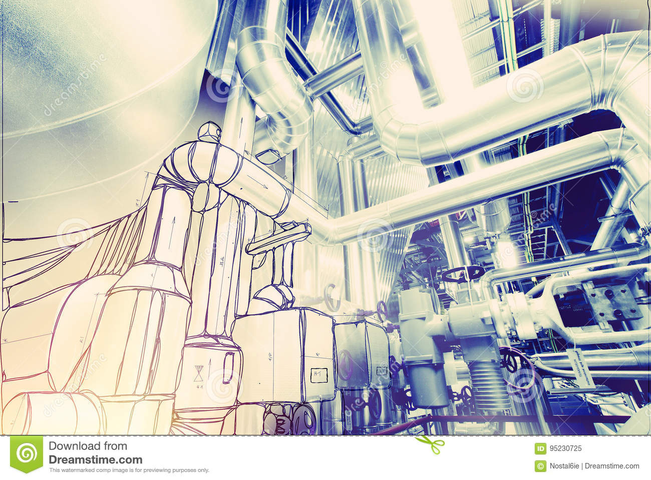 Download Sketch Of Piping Design Concept Stock Image - Image of idea,  imagine: 95230725