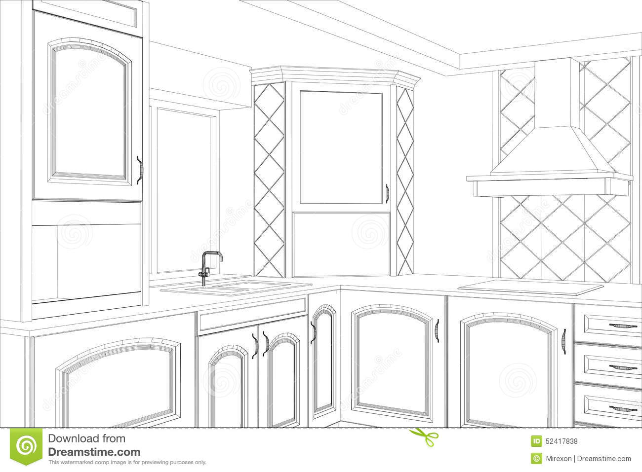 sketch plan kitchen in the wire stock vector