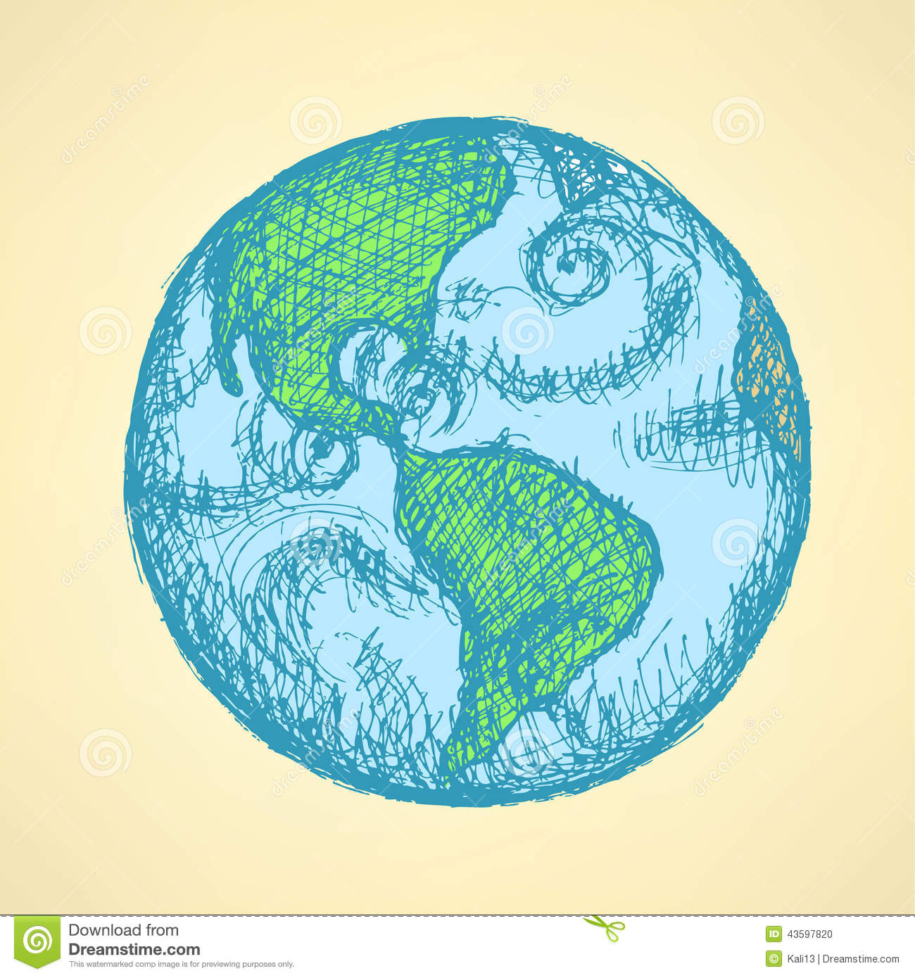 Sketch Planet Earth In Vintage Style Stock Vector ... Globe Drawing Tumblr