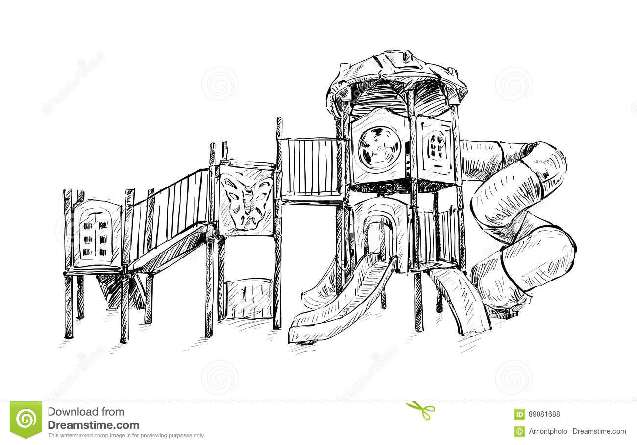 Sketch Of Playground Zone For Kids, Illustration Vector Stock Vector ...