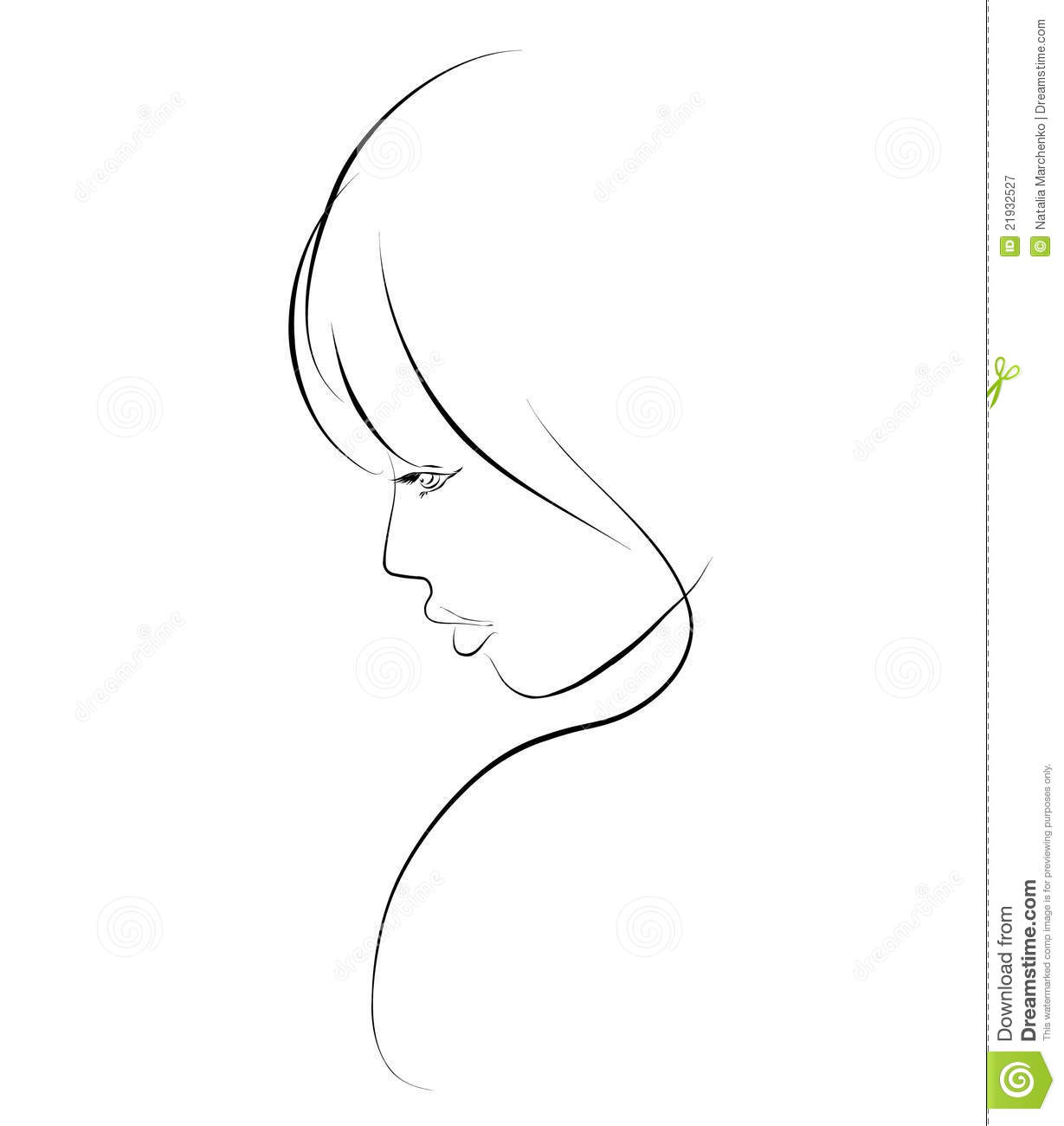 Sketch A Portrait Of A Beautiful Girl Royalty Free Stock Photography ...