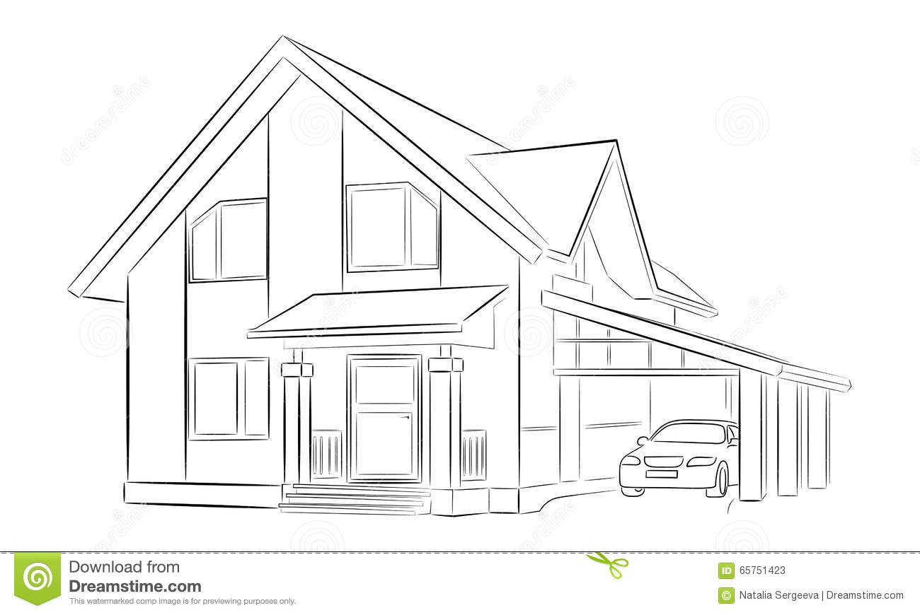 Sketch of a private house stock illustration illustration for Draw your house