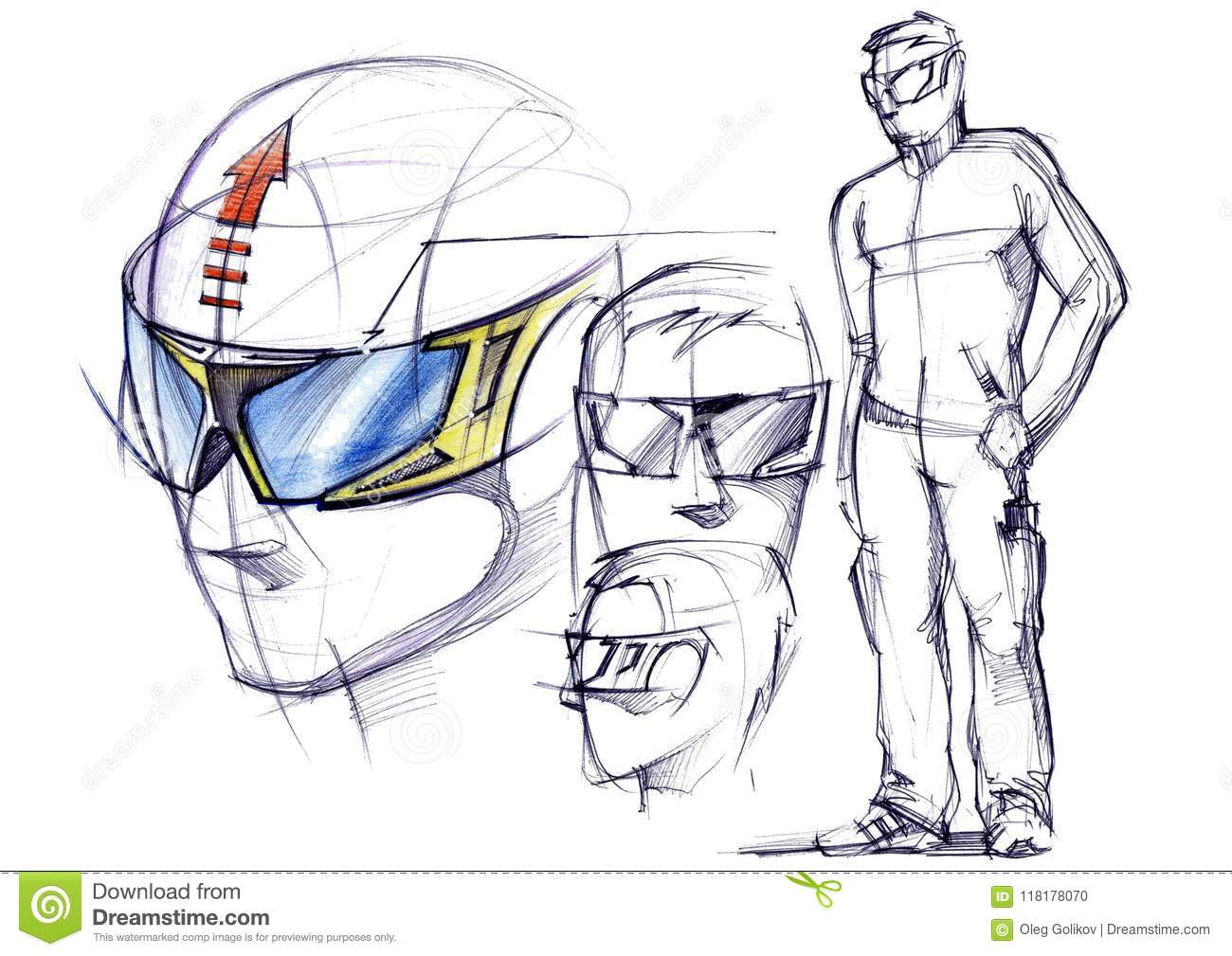 Sketch project of conceptual protective glasses for active sports.