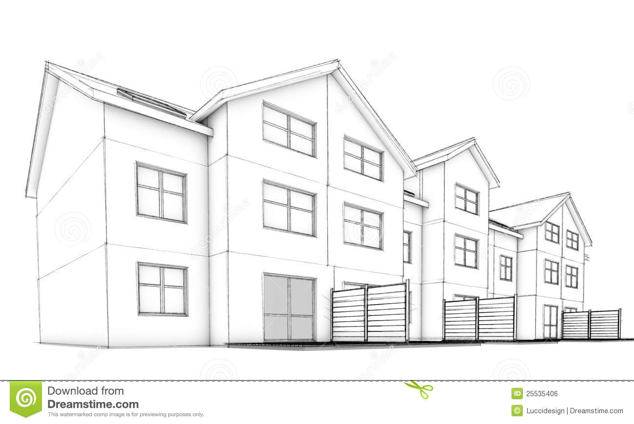 Sketch Residential Terraced Houses Stock Illustration
