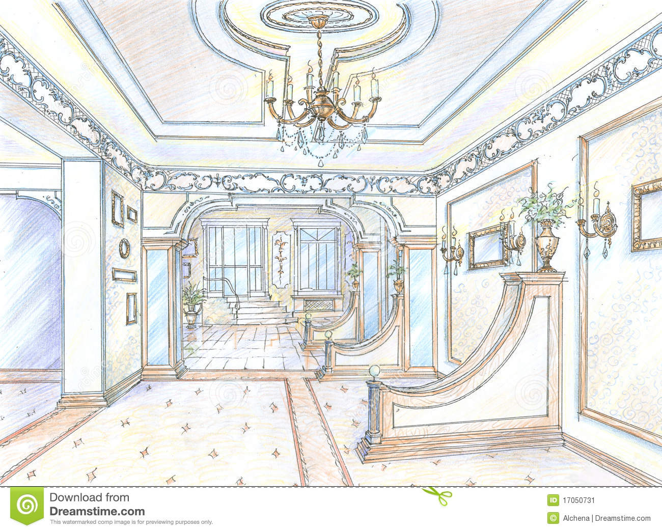 Sketch Of Restaurant Hall Stock Illustration Illustration