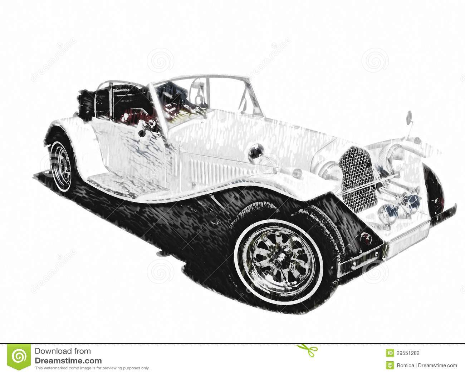 Sketch Retro Vintage White Luxury Car Stock Illustration
