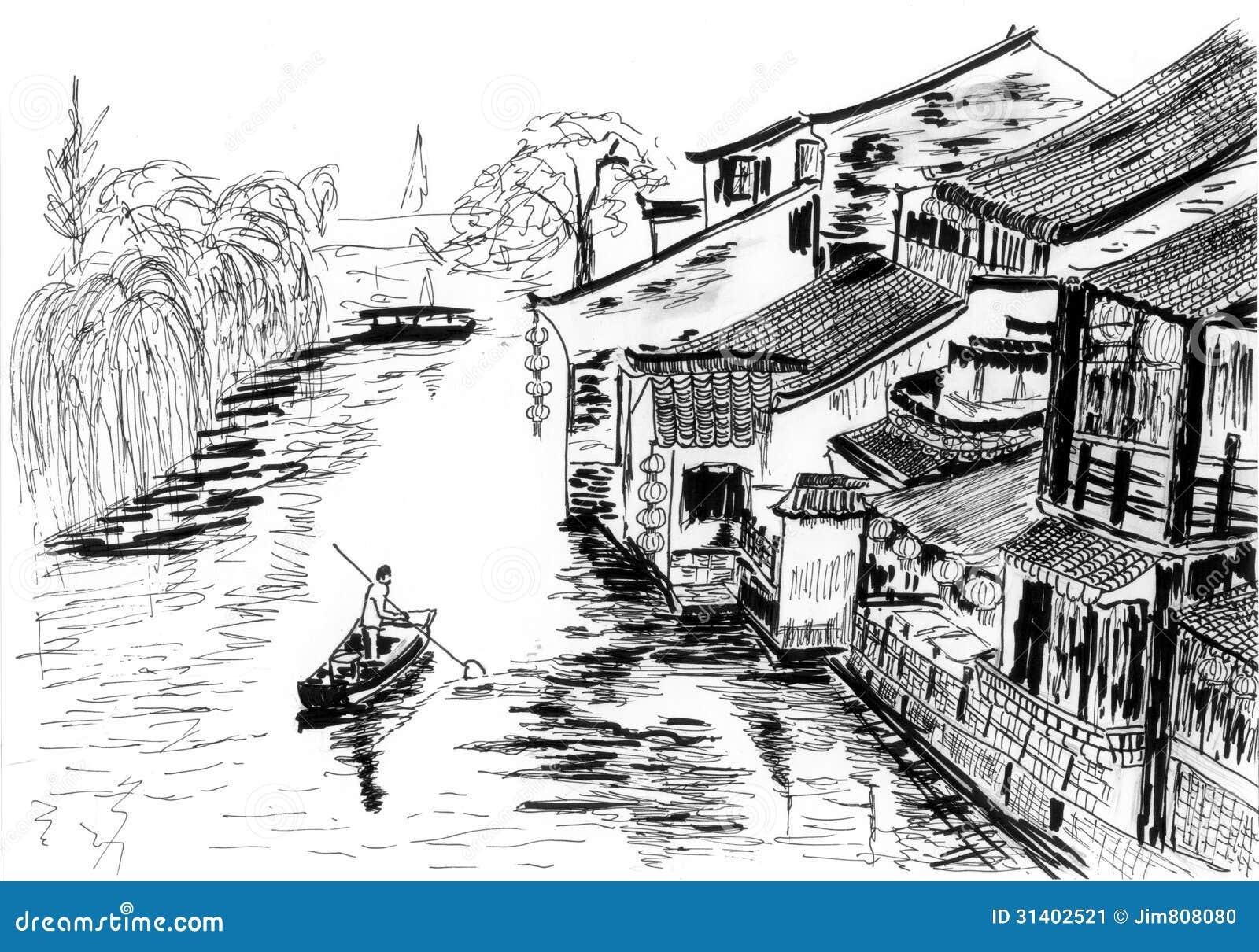 Line Art Village : Sketch the river village wuzhen stock illustration image