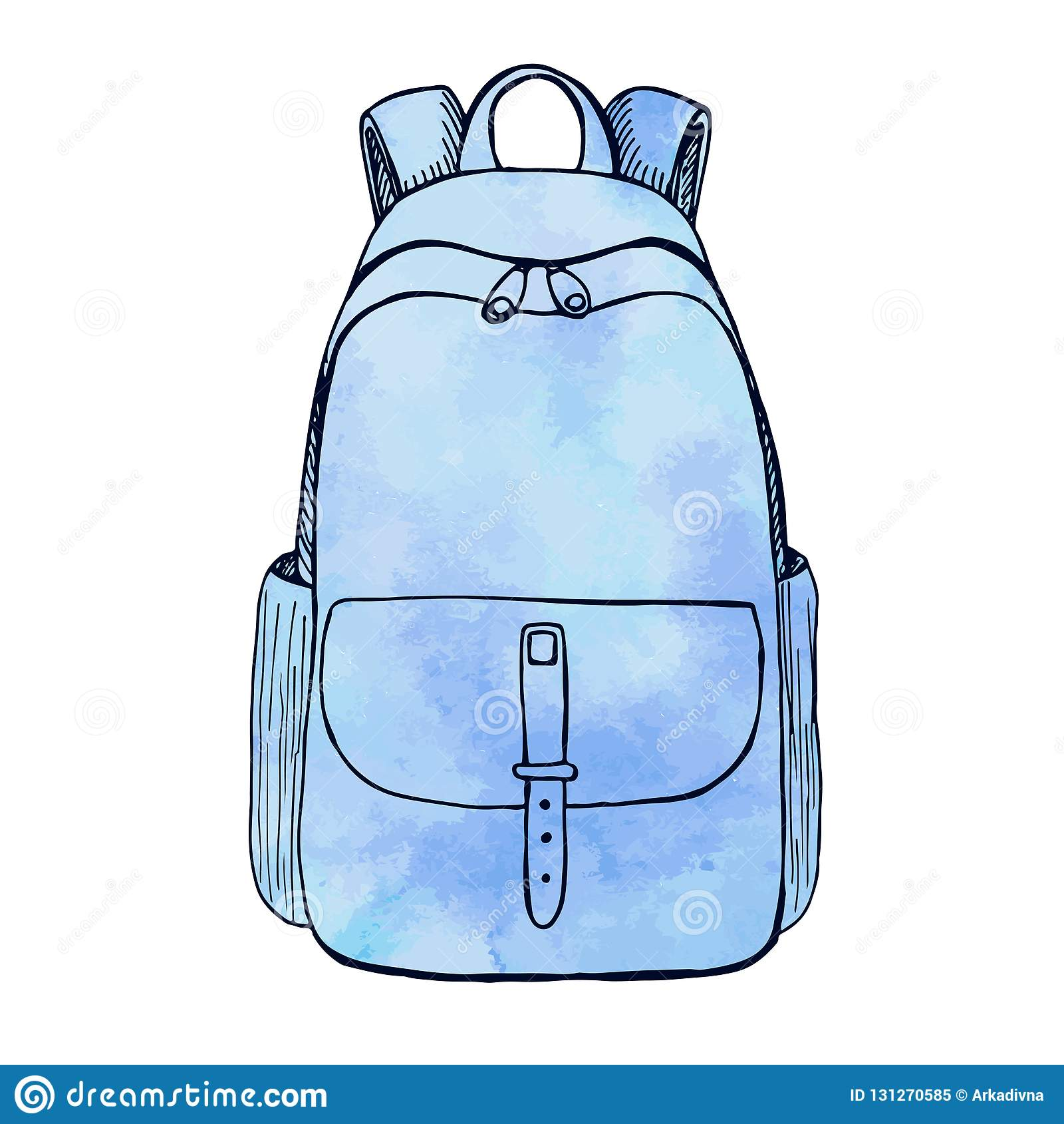 ef7bff7c89b Sketch of a rucksack. Backpack isolated on white background. Vector  illustration of a sketch style.Stylized watercolor.