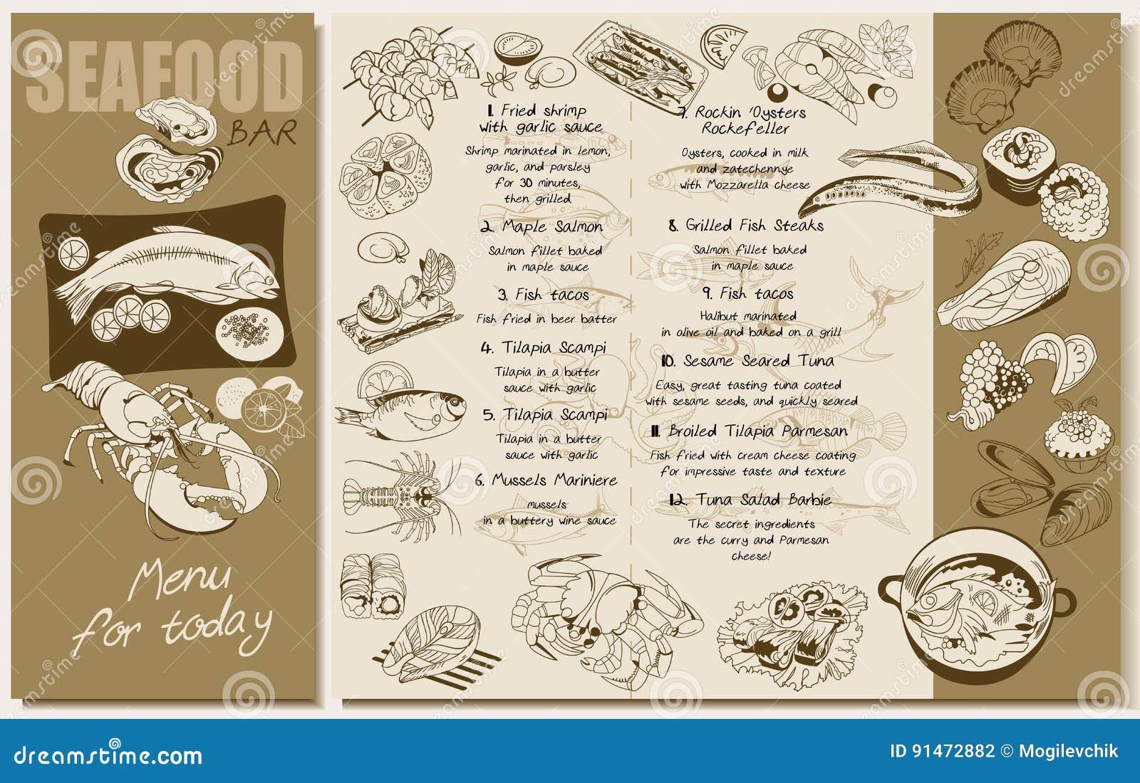 sketch seafood restaurant menu template stock vector. Black Bedroom Furniture Sets. Home Design Ideas