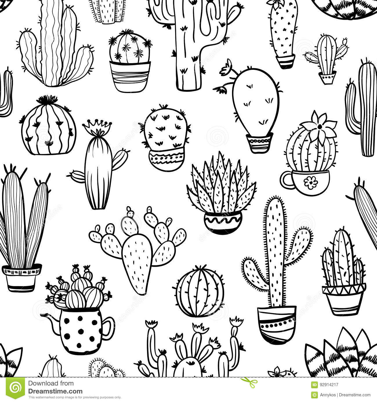 Sketch Seamless Pattern Of Cactus.