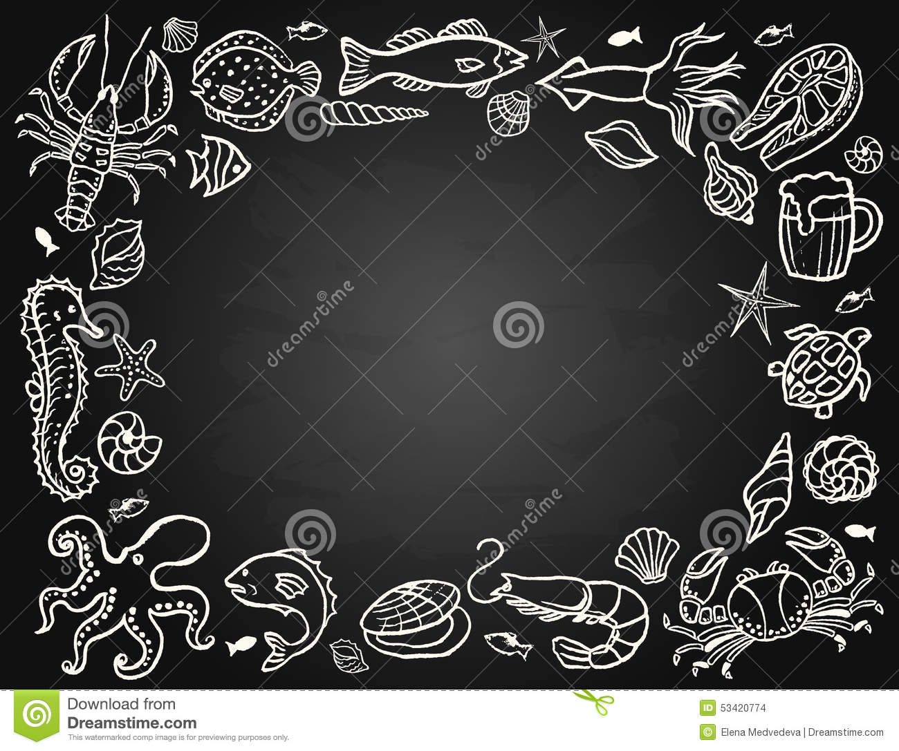 Sketch The Set Of Seafood Stock Vector - Image: 53420774