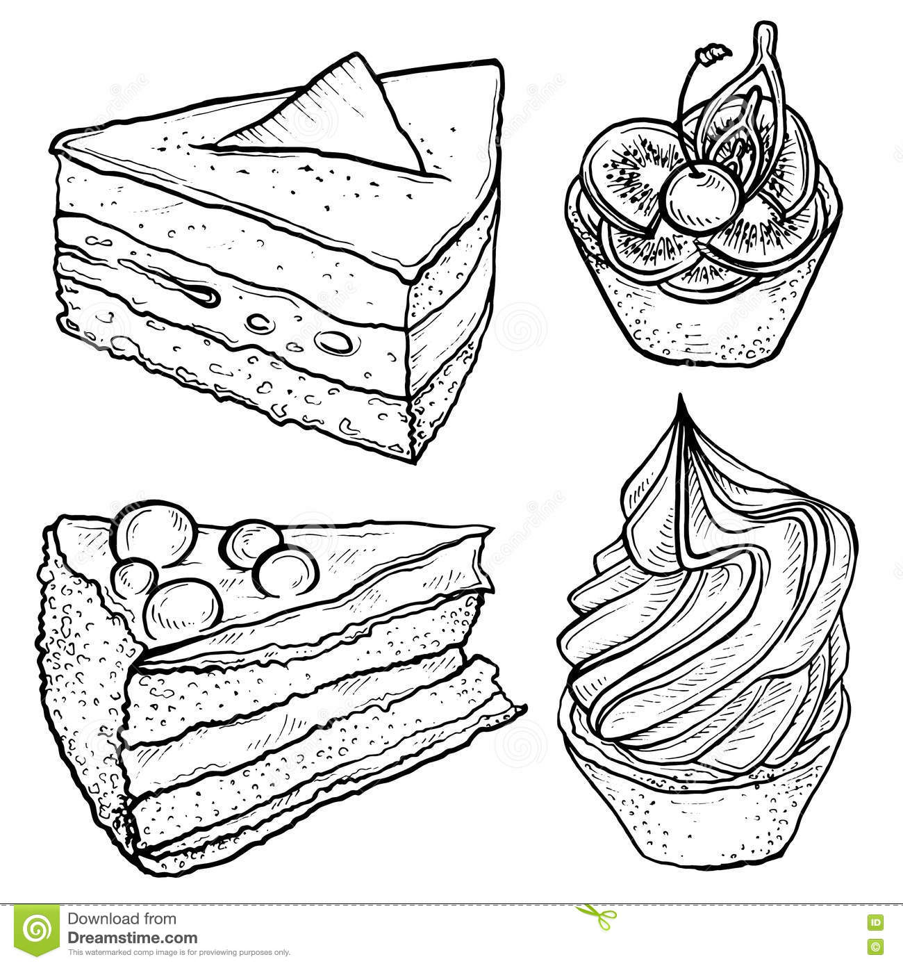 Sketch Set Of Tart, Slice Of Cake. Stock Vector - Image ...