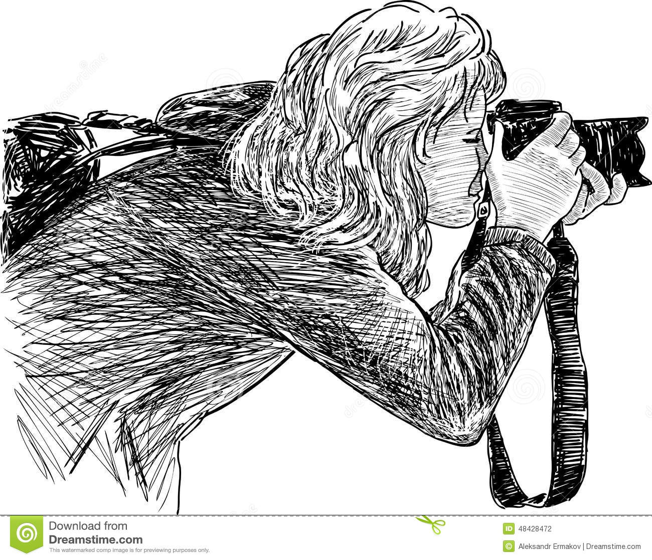 Sketch of a shooting girl stock vector. Illustration of ...  Sketch of a sho...