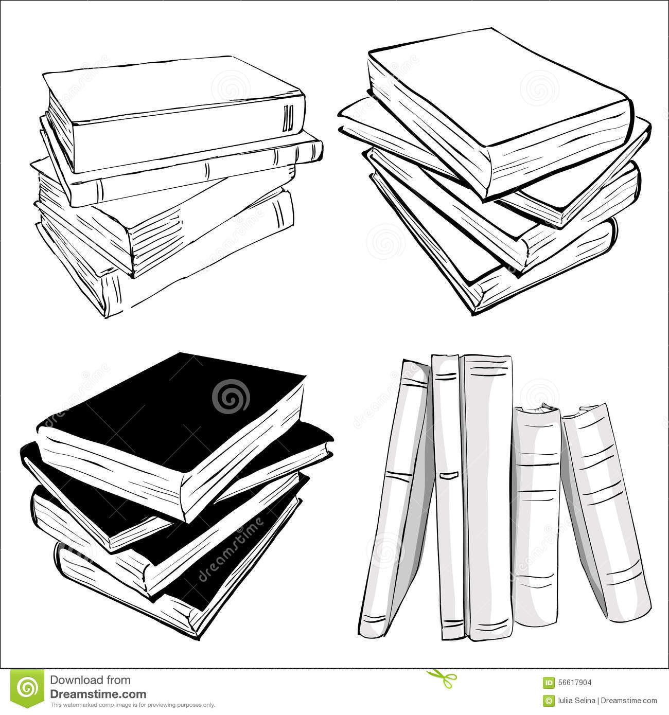 Sketch Of A Stack Books Stock Vector - Image: 56617904