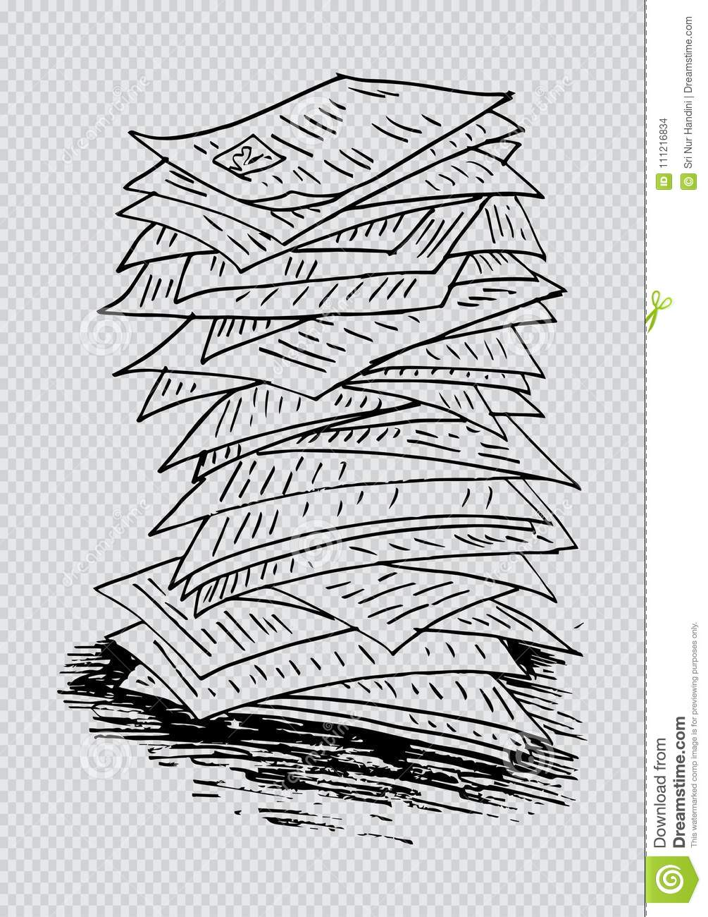 sketch of stack of work papers stock illustration - illustration of