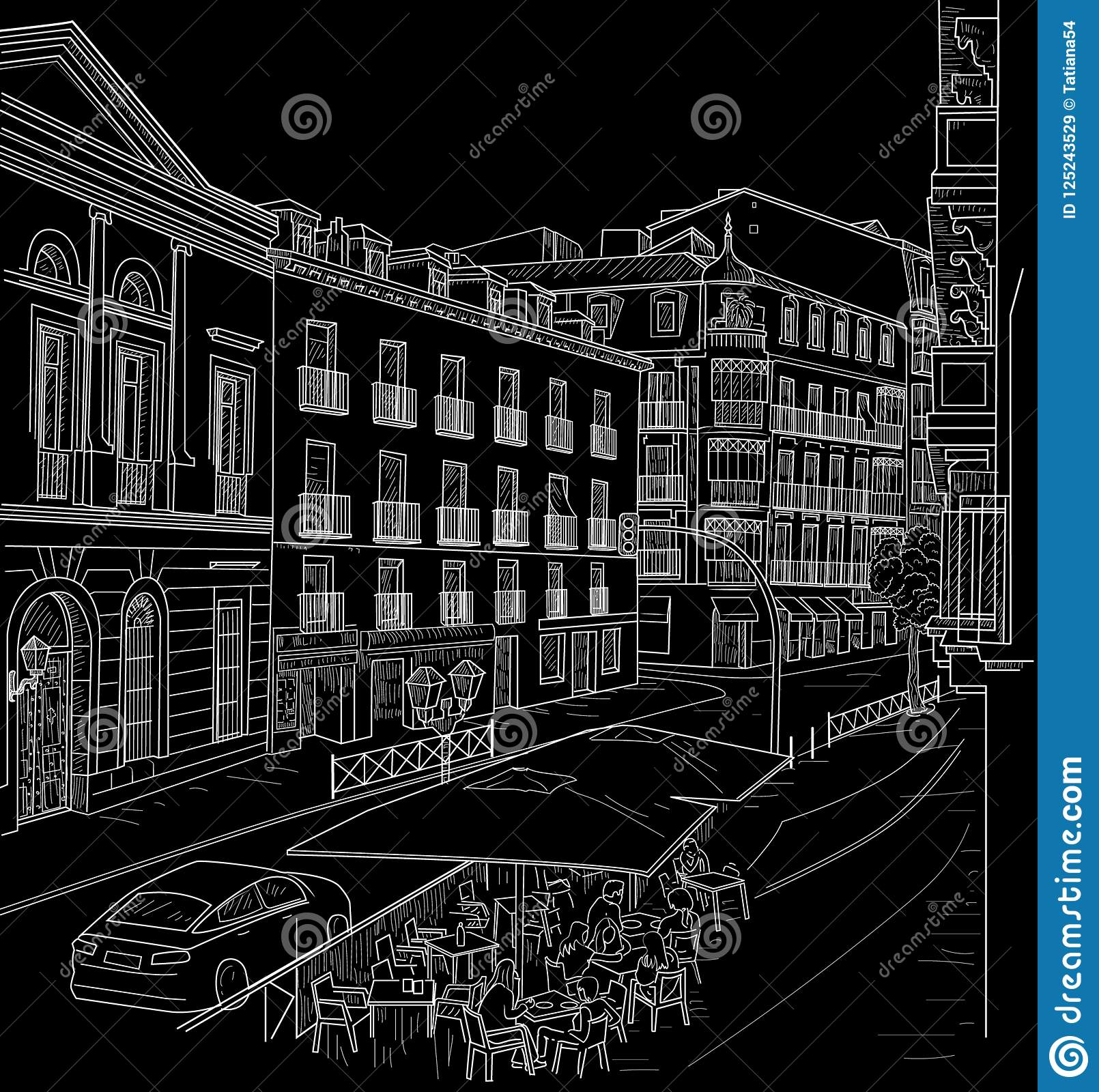 Black And White Madrid sketch of the street of madrid stock vector - illustration