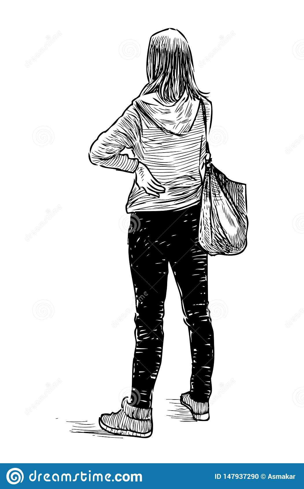 Sketch of a student girl standing and waiting stock vector
