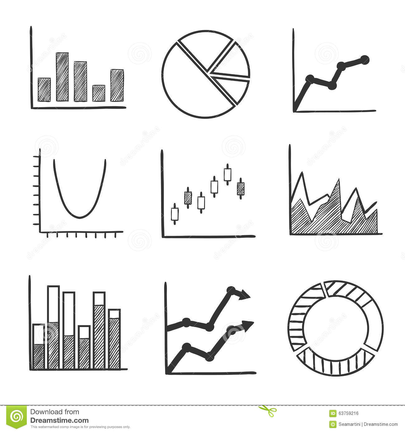 Sketch Style Icons Of Business Charts And Graphs Stock Vector ...
