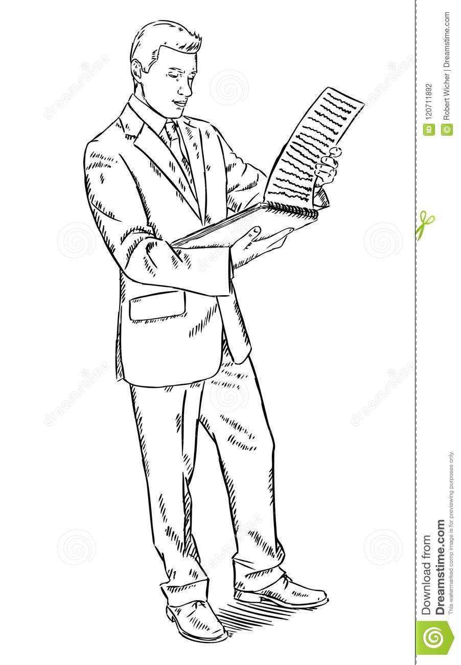 sketch style illustration of businessman standing and reading notes