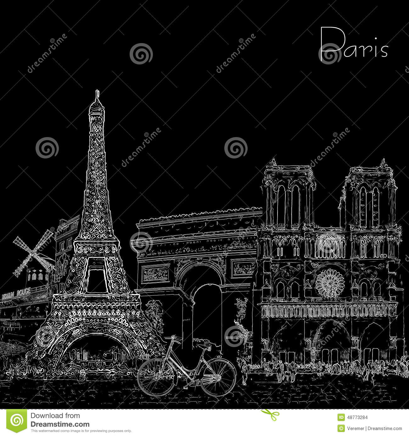 Sketch Style Poster With Paris Symbols And Landmarks Black And White Stock Illustration Illustration Of Love Attraction 48773284
