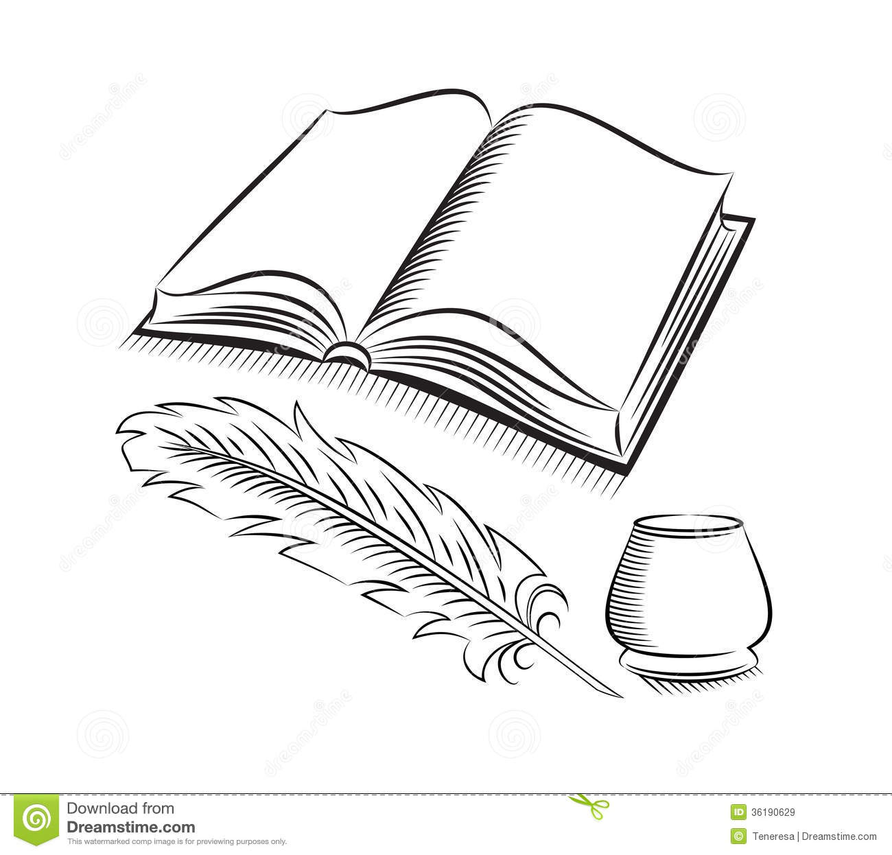 Sketch Style Quill And Inkwell With Book Stock Vector