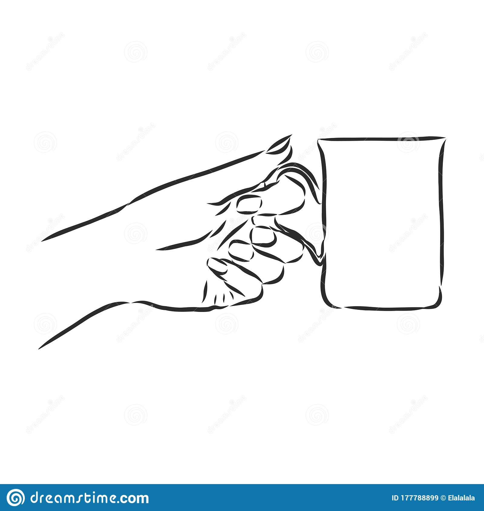 Sketch Style Realistic Drawing Of Beautiful Hand Holding A Mug With A Hot Beverage Stock Illustration Illustration Of Coffee Relaxation 177788899