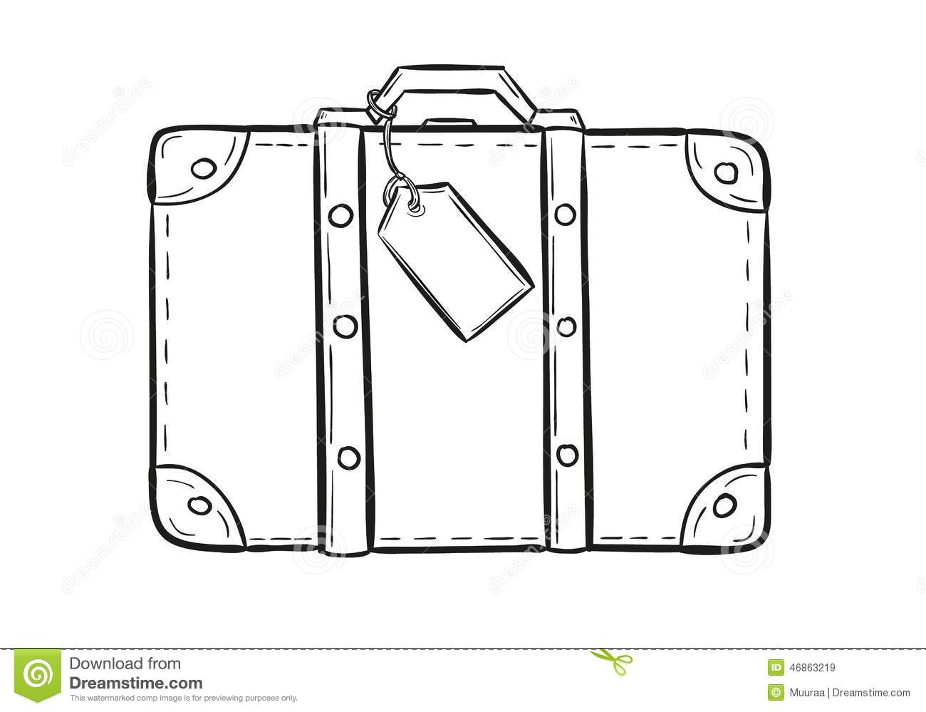 Sketch of the suitcase with tag on white background, isolated.