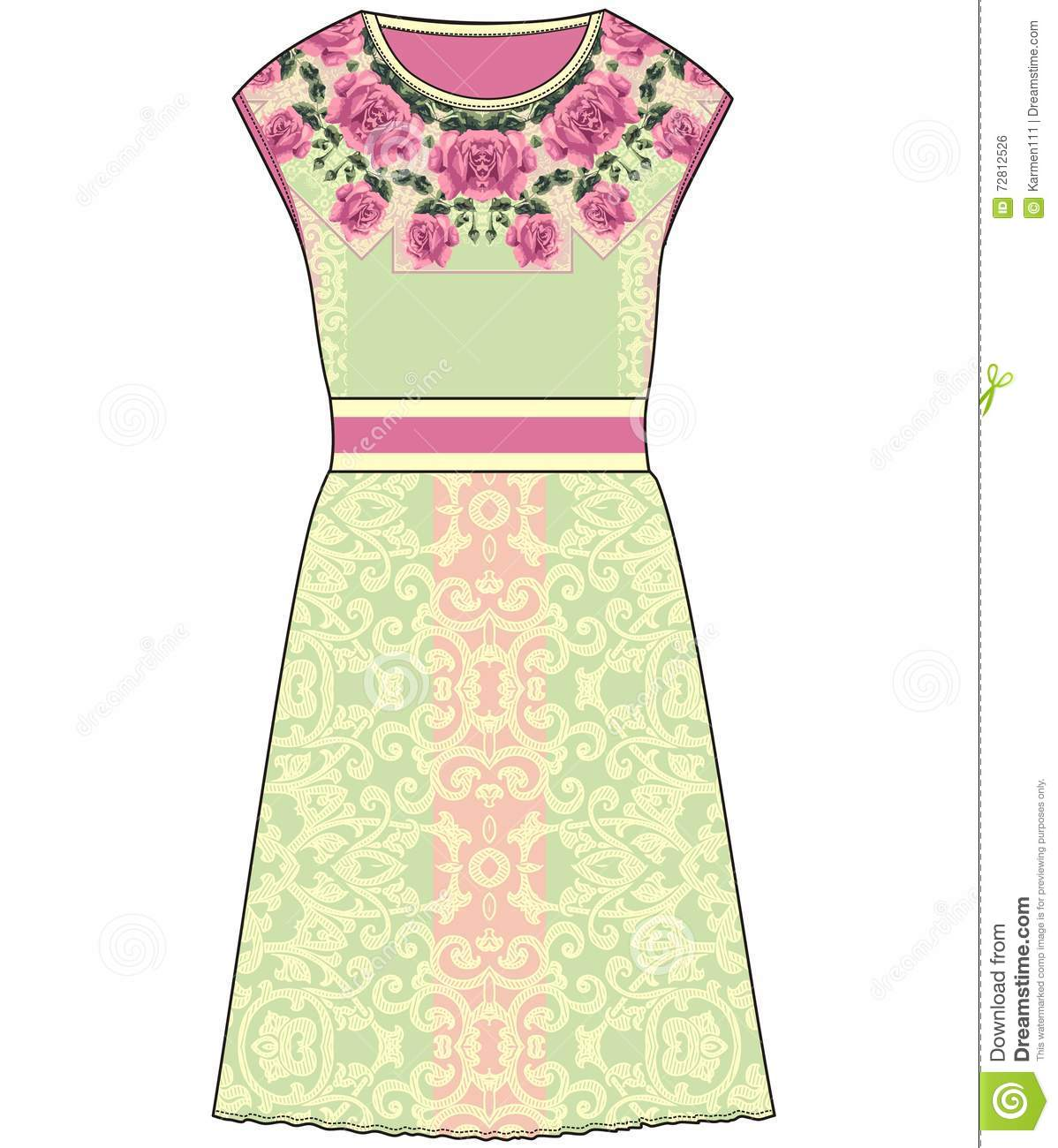 Sketch Summer Female Dress With Pastel Color Fabric Roses And Lace ...