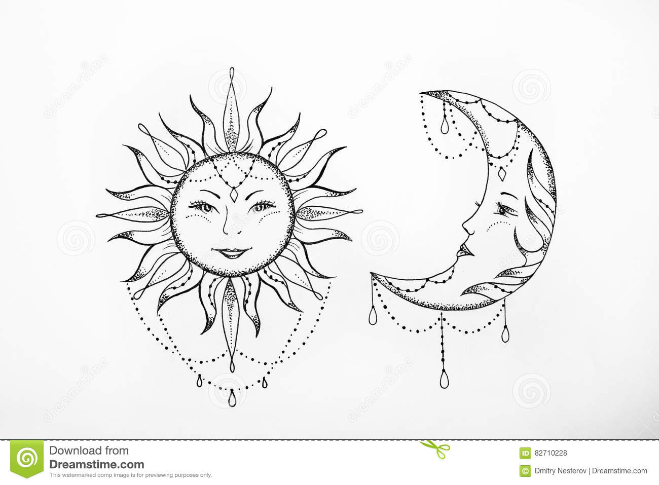 Sun And Moon Faces Black And White | www.imgkid.com - The ...