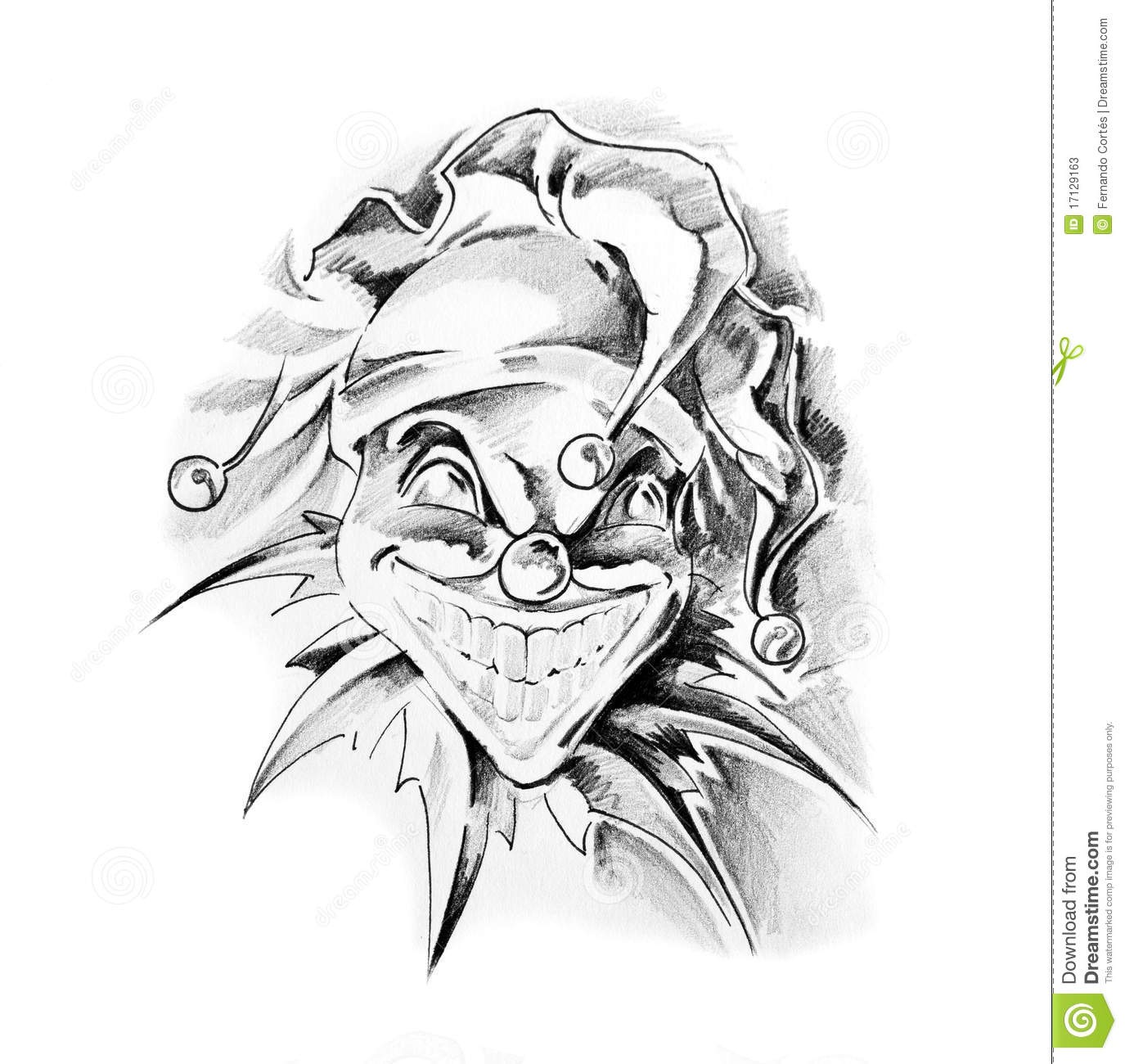 sketch of tattoo art clown joker stock illustration image 17129163. Black Bedroom Furniture Sets. Home Design Ideas