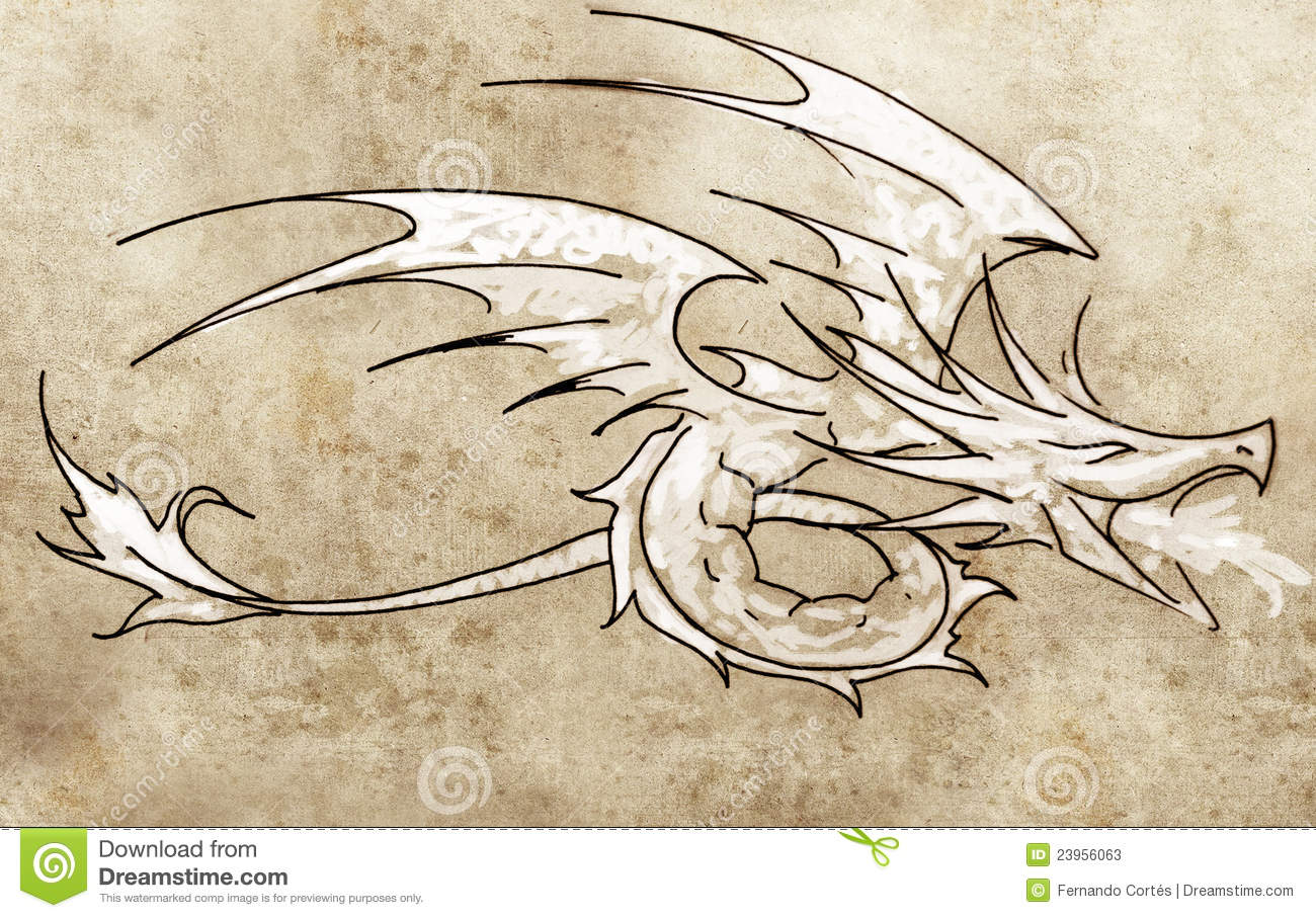 Line Drawing Dragon Tattoo : Sketch of tattoo art dragon line drawing stock