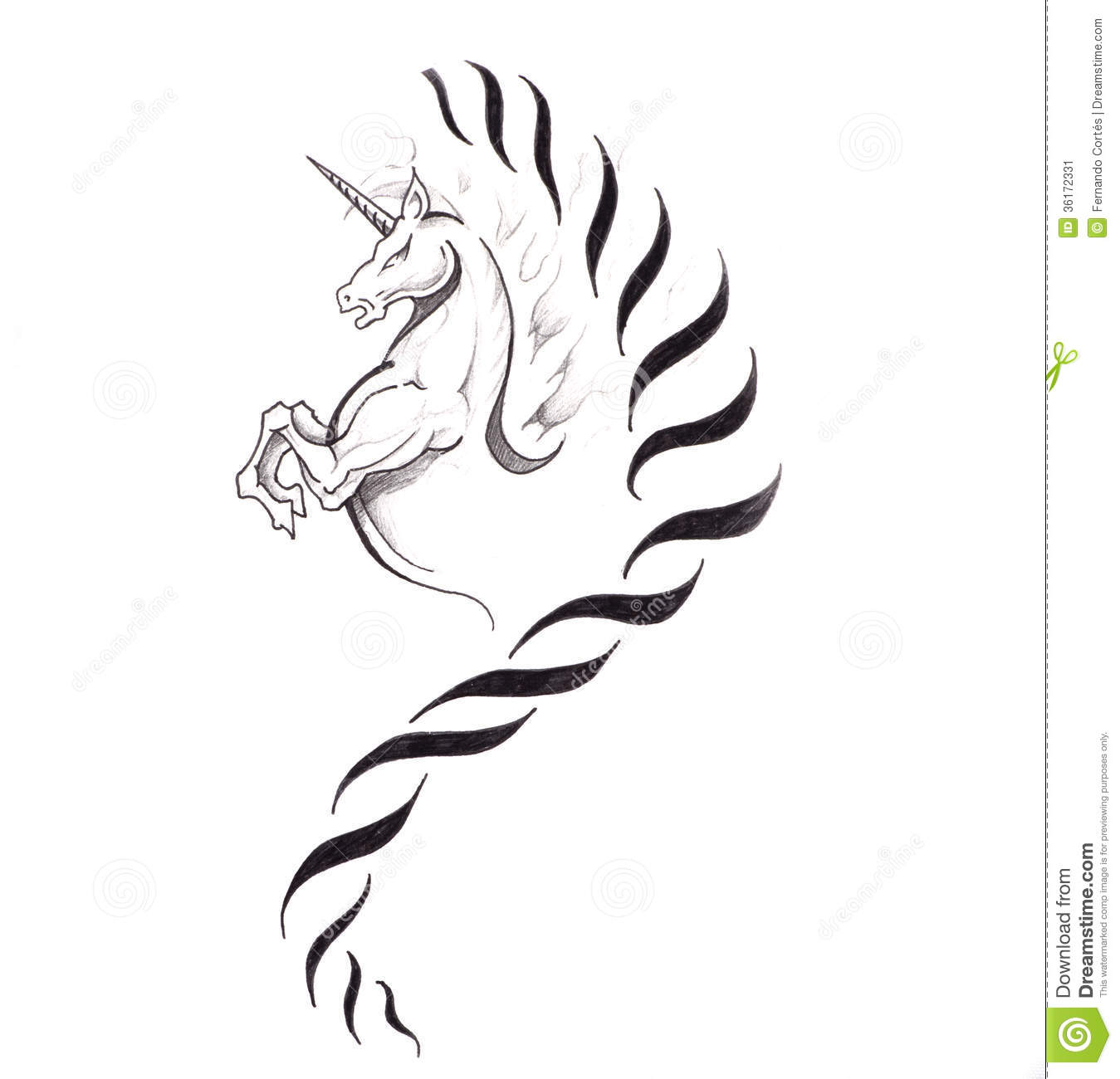 Sketch Of Tattoo Art Horse Unicorn Stock Image Image