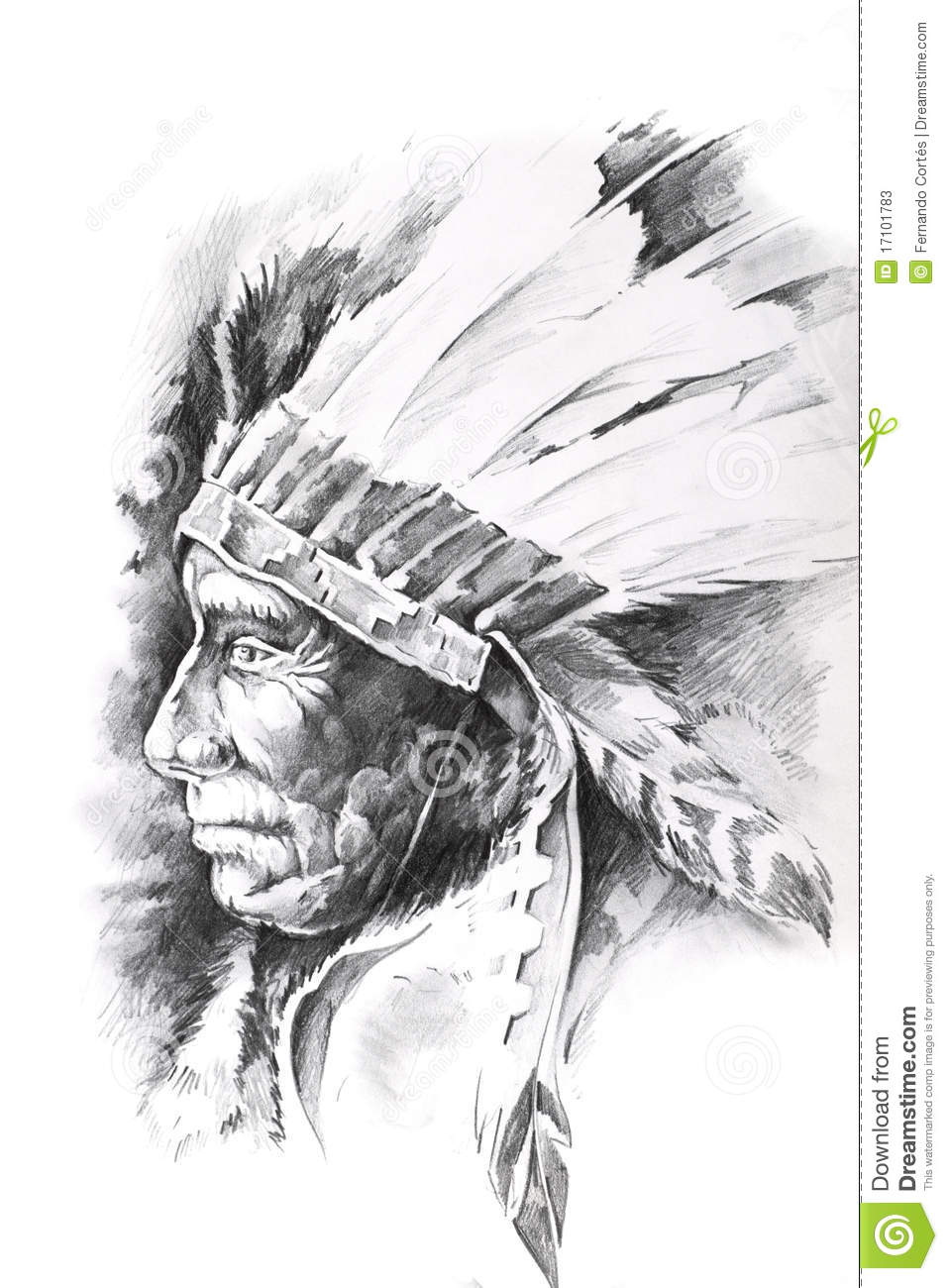 Sketch Of Tattoo Art Indian Head Stock Photos Image