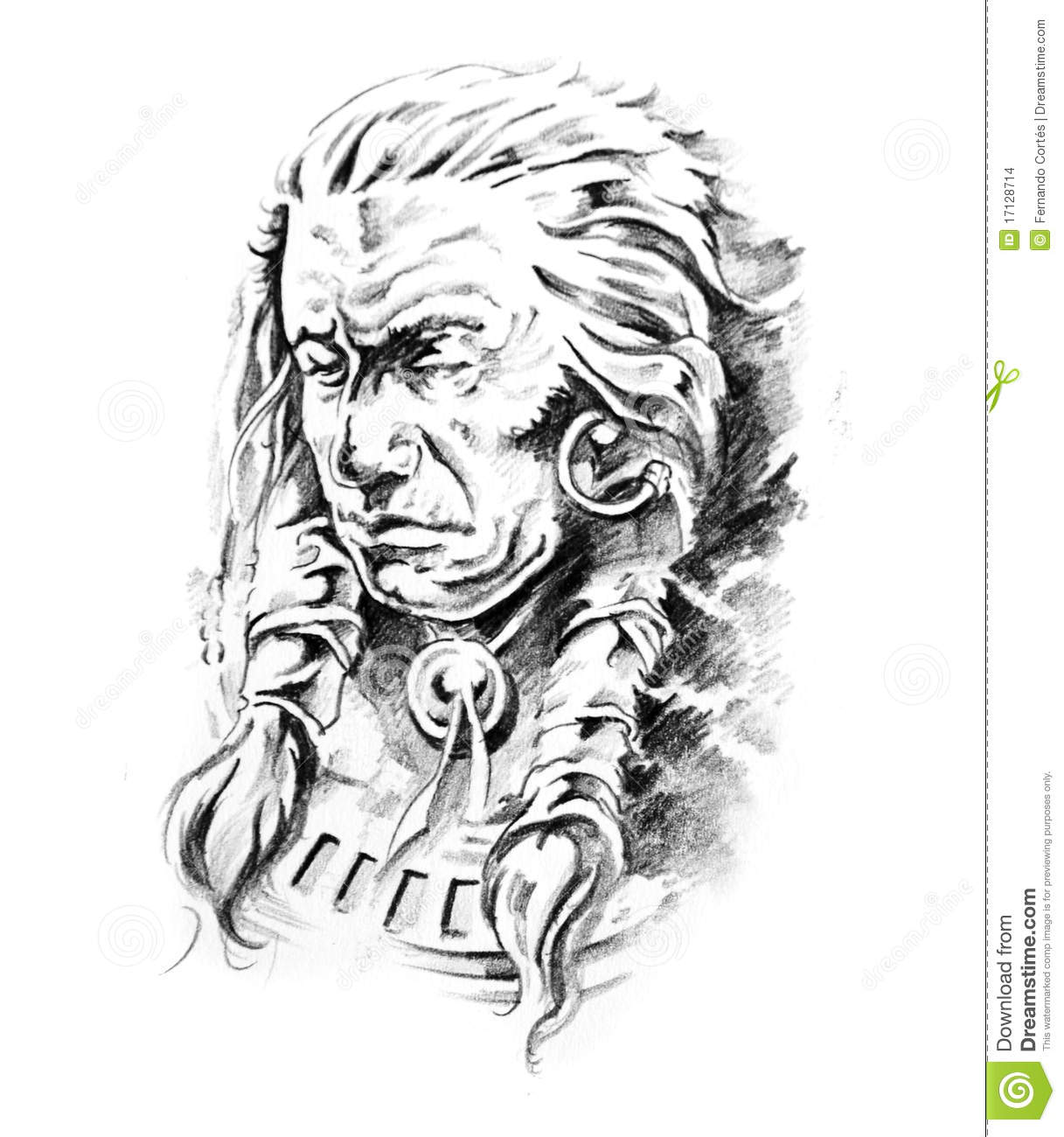 Sketch Of Tattoo Art Indian Head Stock Images Image