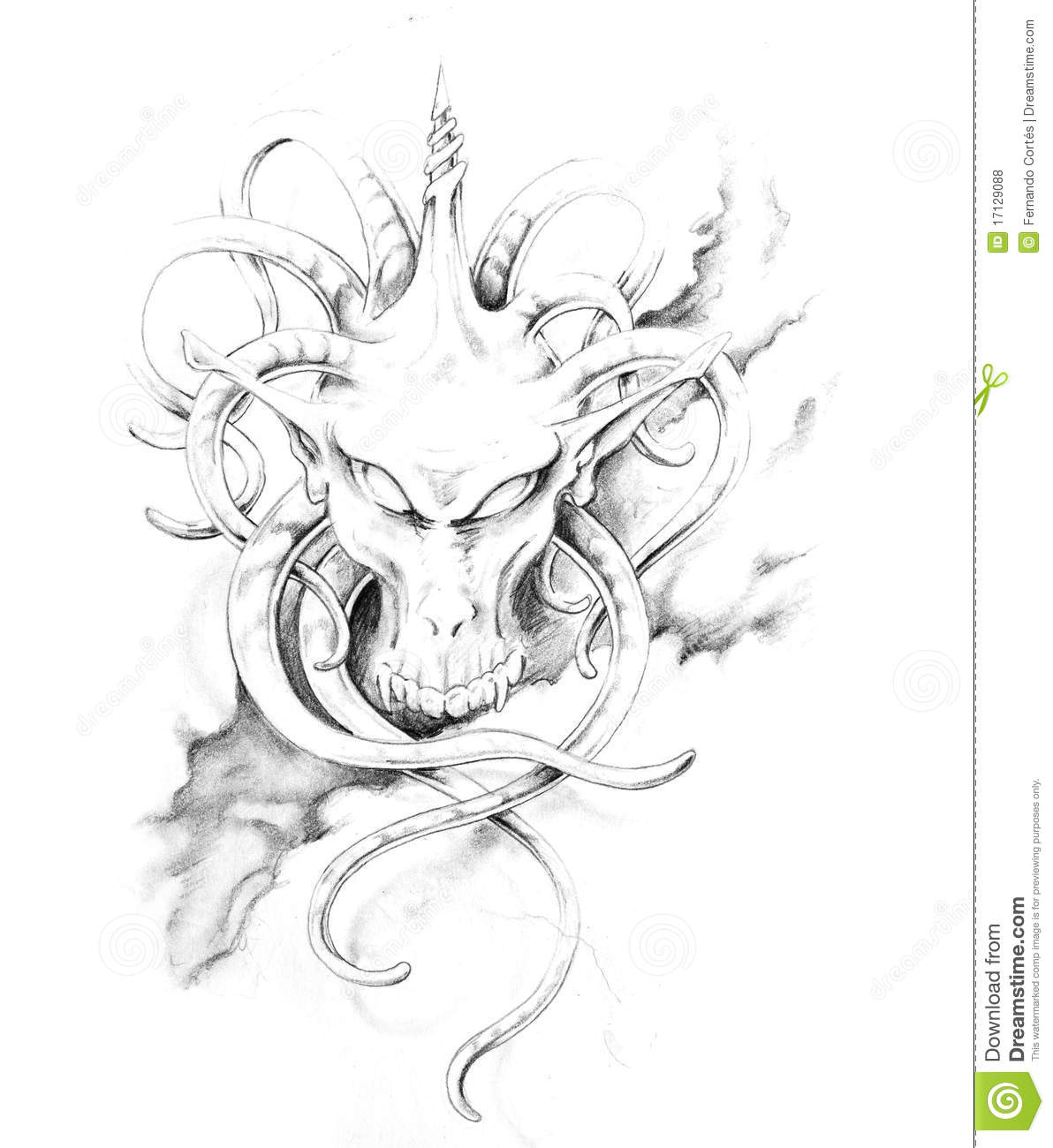 Sketch of tattoo art monster royalty free stock photos for Sketch online free