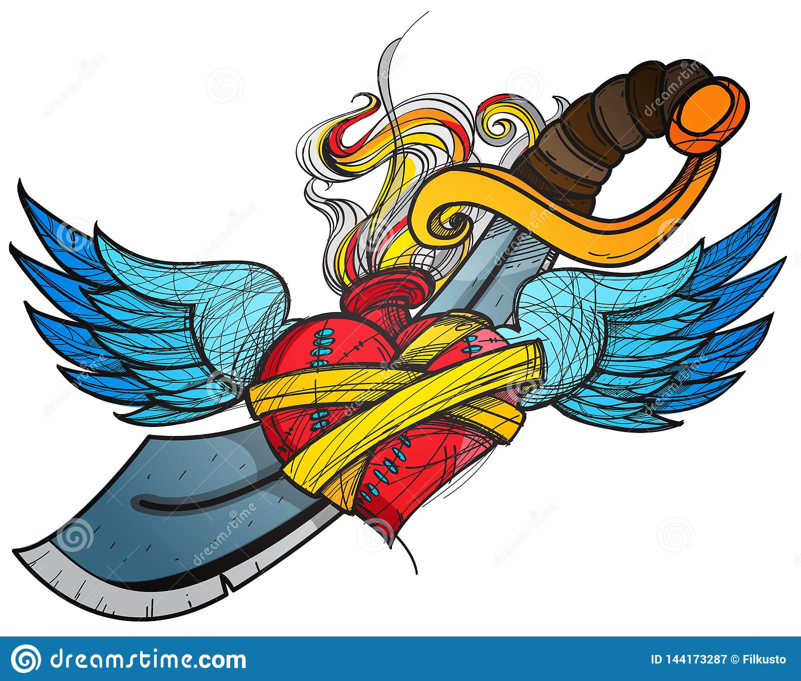 A sketch of a tattoo. Heart with wings and a sword colored illustration