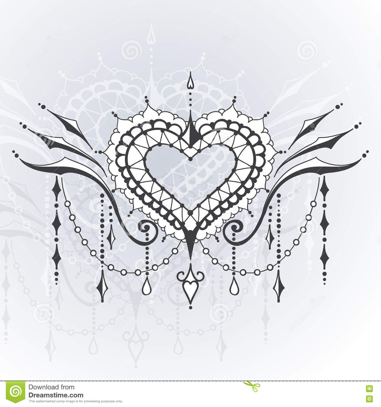 Sketch Of Tattoo Henna Hearts Stock Vector Illustration Of Curve