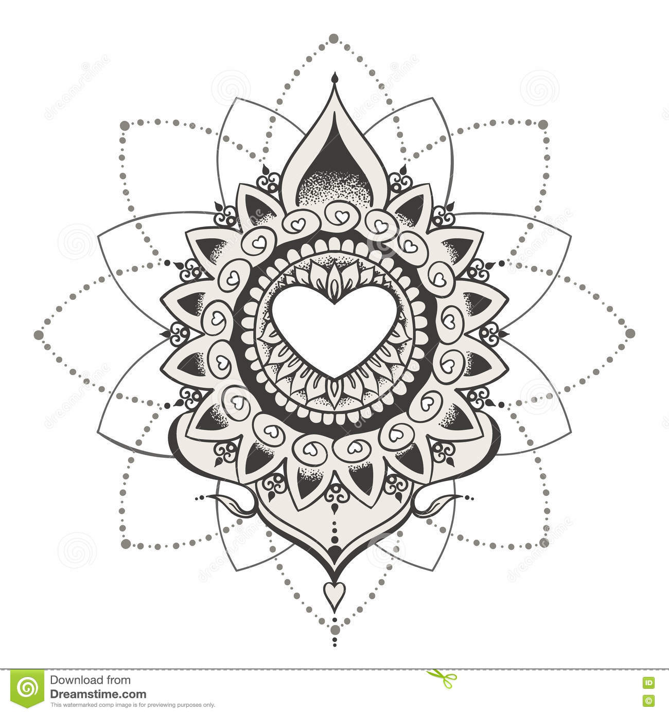 Sketch Of Tattoo Henna Hearts Stock Vector Illustration Of Style