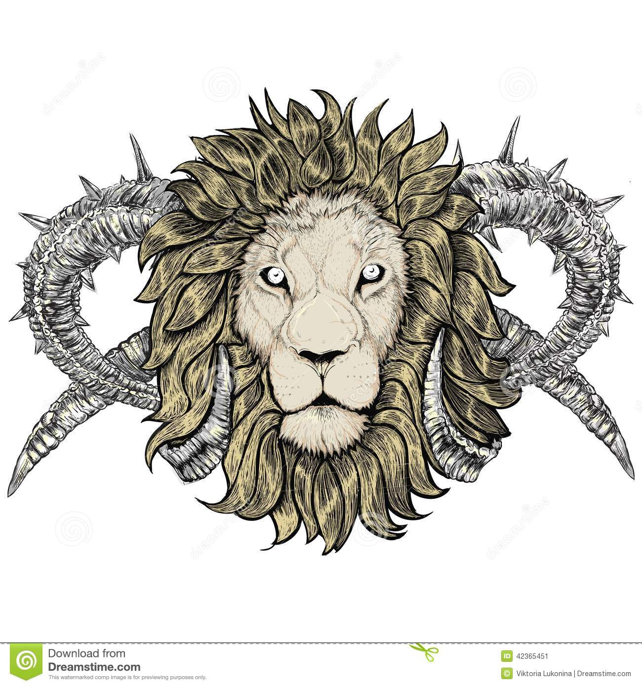 Sketch Of Tattoo Lion With Horns Stock Vector Illustration Of
