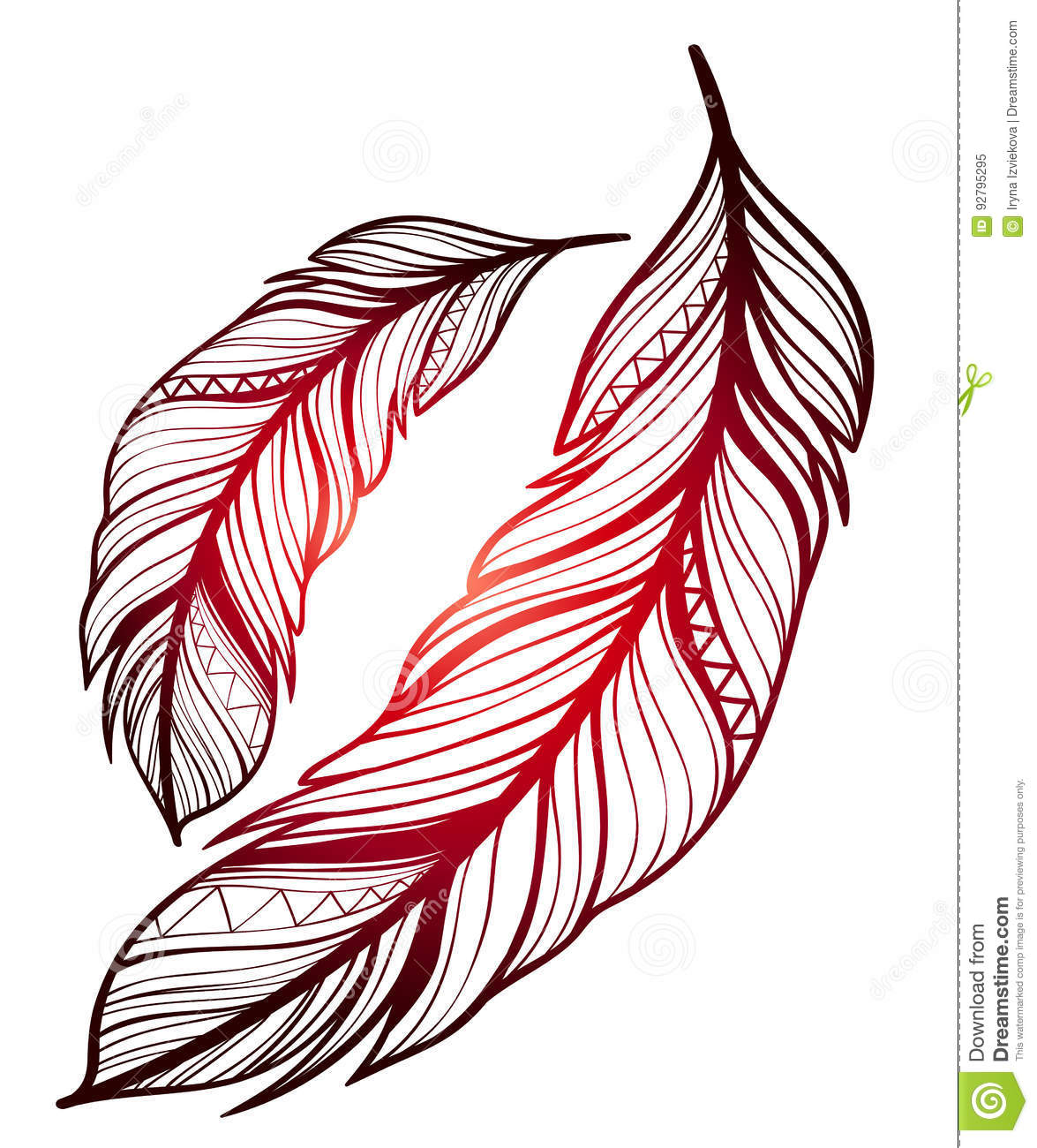 b57e10c93 Sketch tattoos - feathers stock vector. Illustration of american ...