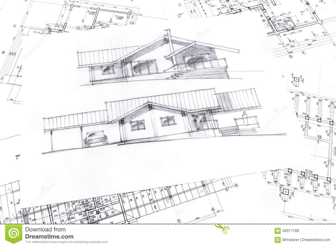 Sketch with technical project drawings stock illustration for How to draw architectural plans by hand