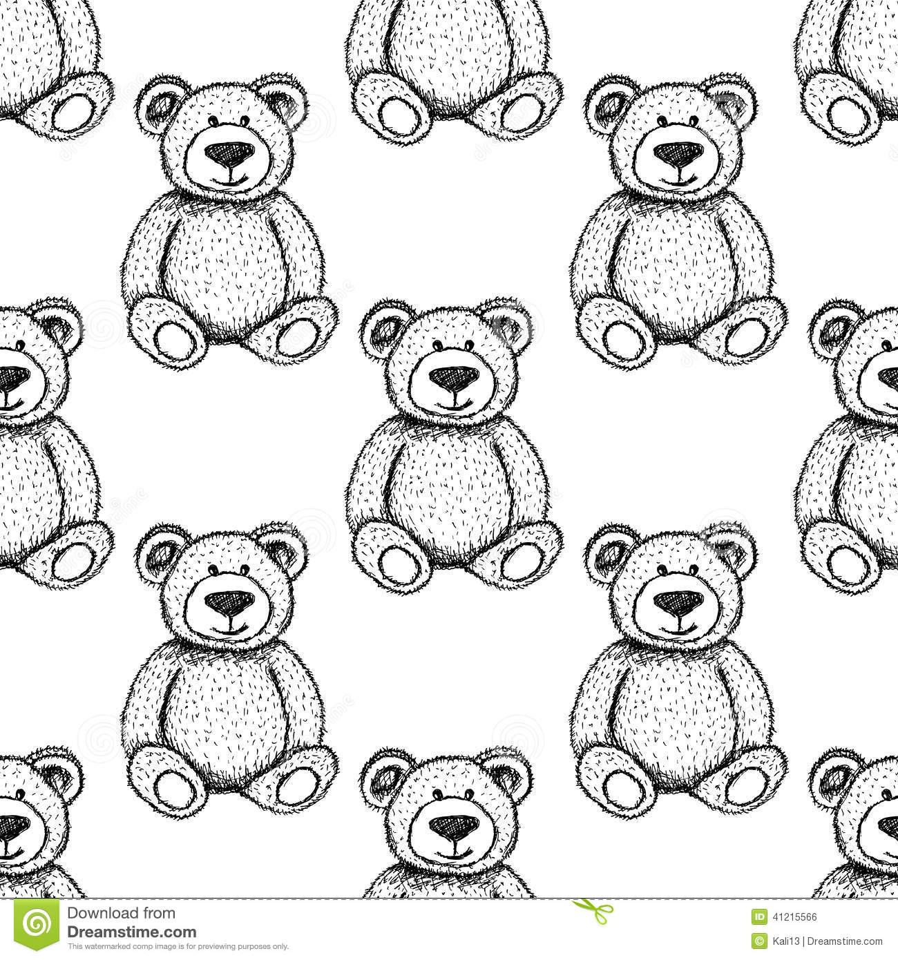Sketch Teddy Bear, Seamless Pattern Stock Illustration