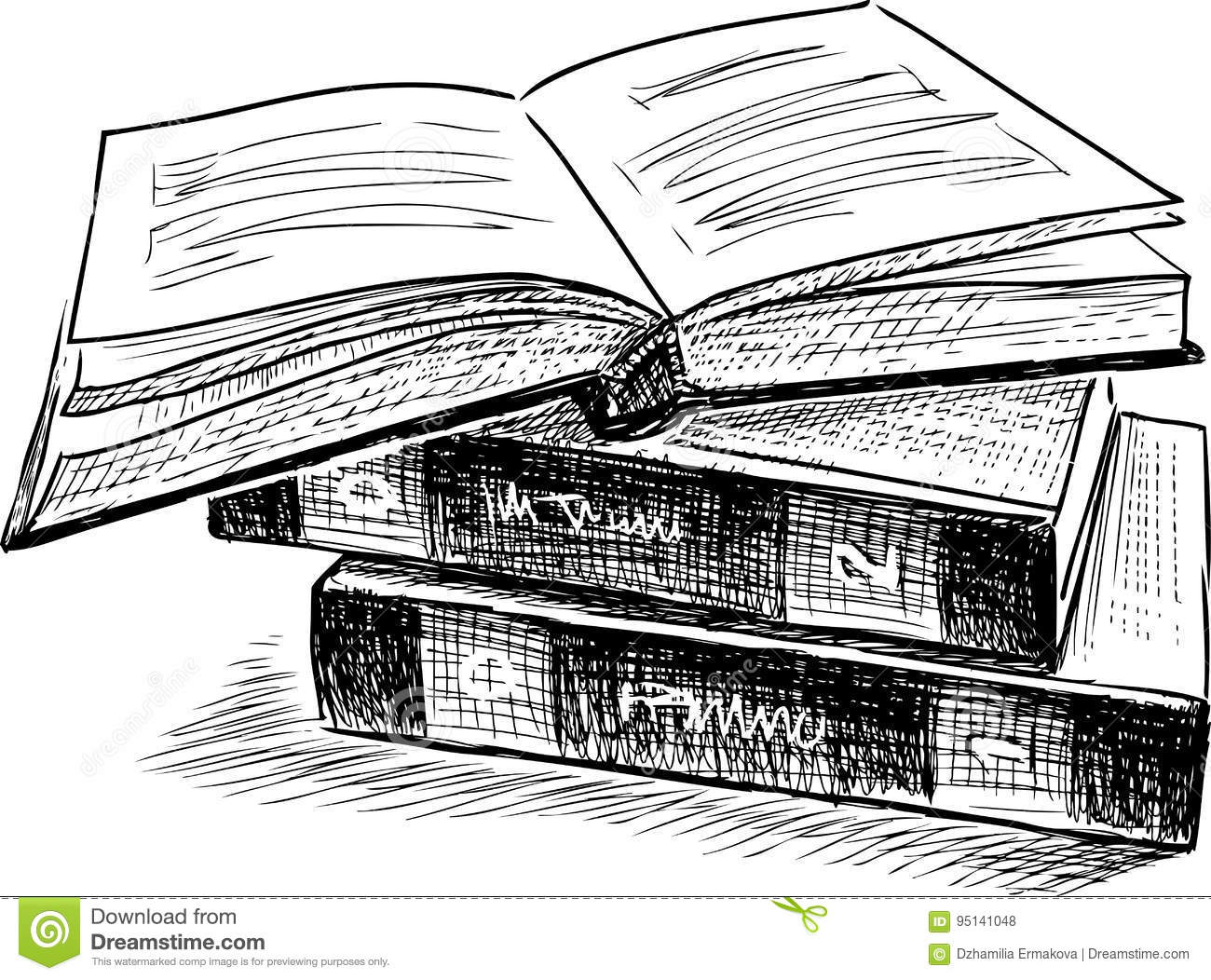 Sketch of three books