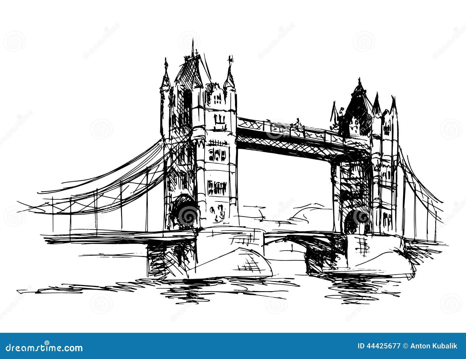 Sketch Tower Bridge Stock Illustration. Illustration Of Europe - 44425677