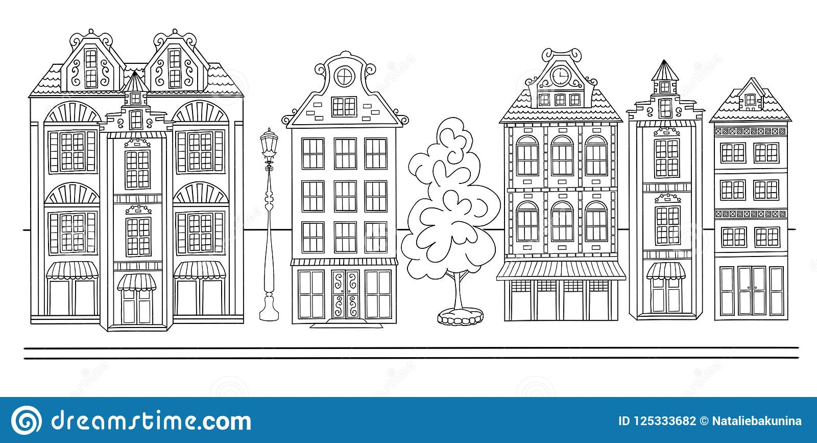 Sketch of town street. stock vector. Illustration of architecture ...