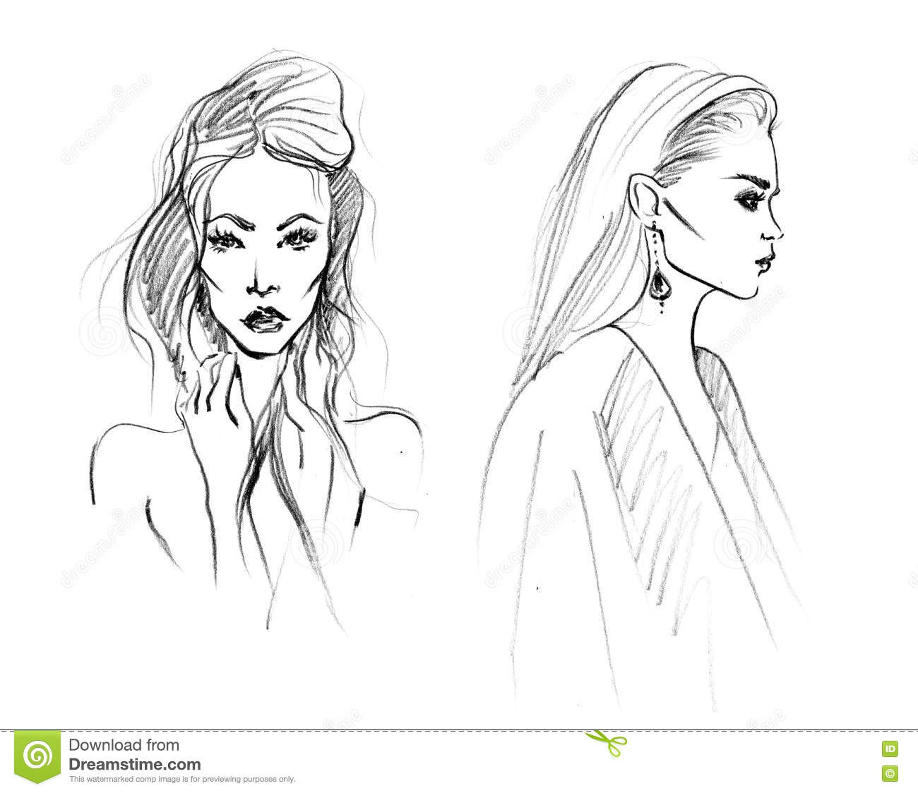 Sketch Of Two Fashion Woman Stock Illustration