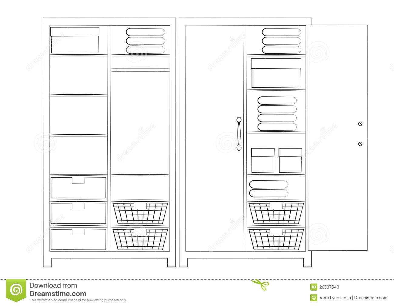 Cupboard Design For Bedroom Sketch Of Two Wardrobes Stock Photo Image 26507540