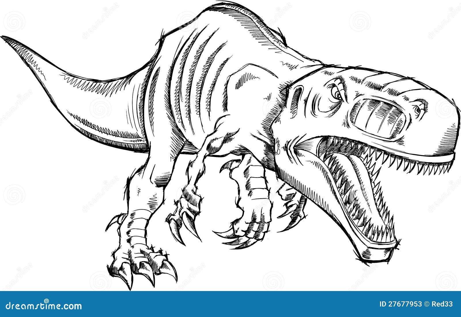 Sketch Tyrannosaurus Rex Dinosaur Stock Vector Illustration Of